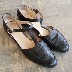 Salvatore Ferragamo T Strap Black Leather Flats